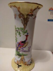 """CHELSEA HOUSE Porcelain Decorative peacock Vase, Gold trim, 8.7"""" T. Multicolor."""