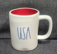 RAE DUNN ARTISAN COLLECTION MAGENTA LL USA IVORY MUG CUP NEW GLOSSY RED INSIDE