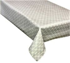Vinyl Tablecloth Morrocan Light grey Wipe Clean, Pvc Textile Backed (247)