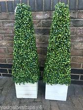 2 artificiel topiaire buis arbre plante pyramide cône 3FT haut + blanc emballage