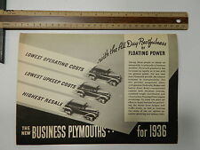 The New Business Plymouths.. 1936  Sales Brochure