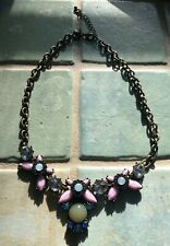J.CREW Colorful Stone Statement Necklace Blue Pink NWOT
