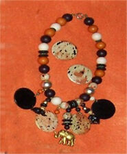 """matching earrings (for pierced) Safari necklace 18"""" with"""
