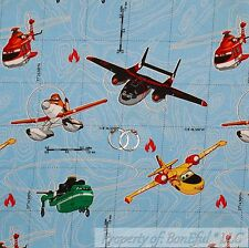 BonEful FABRIC FQ Cotton Quilt Disney Airplane Movie Water Sea Earth Map USA Boy