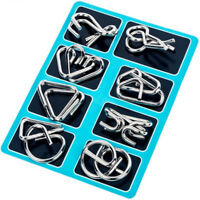 8PCS Metal Wire Puzzle Game IQ Mind Test Brain Teaser Toys For Kids Adults HOT