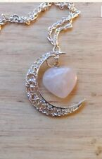 Crescent Moon ROSE QUARTZ  Love HEART Pendant Necklace