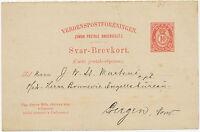 NORWEGEN 1890 10 Ö Pra.-Auslands-GA-Postkarte (seltene Antwortteil) nach BERGEN
