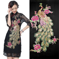 Peacock Sequin Applique Cloth Badges Embroidered Sew on Floral Patch Dress Craft