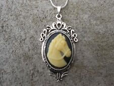 BEAUTIFUL HORSE CAMEO NECKLACE (CREAM ON BLACK)!! .925 SILV. PLATE CHAIN!!!