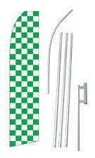 Checkered Green White Banner Flag Sign Display Complete Kit Tall Business Advert