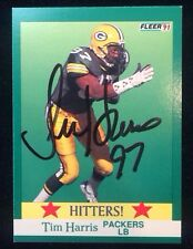 TIM HARRIS 1991 FLEER Autographed Signed FOOTBALL Card PACKERS 406