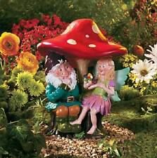 "Garden Gnome & Fairy Statue Sitting Under Mushroom Colorful Yard Art 11""H ~NEW~"