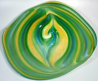 "24"" HAND BLOWN GLASS WALL OR TABLE PLATTER, DIRWOOD GLASS, GREEN BLUE GOLD n1340"