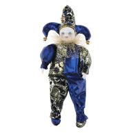 Cute Porcelain Hanging Feet Small Clown Doll, Home Desk Display Ornaments, D