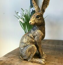More details for large 22cm bronze effect sitting hare ornament figurine