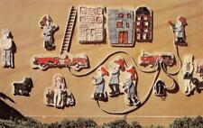 BURLINGAME FIRE STATION 5th Grader Ceramic Mural Fire Department c1960s Postcard