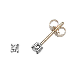 9ct Gold 0.05ct Diamond Solitaire Stud Earrings - Gift Boxed - Real Diamond