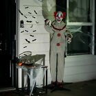 Halloween Animatronic Clown life Size Props Scary Decorations Motion Light