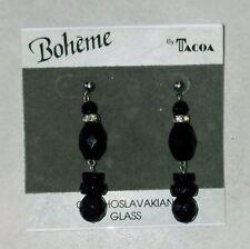 Vintage Boheme Bohemian Black Czechoslovakian Glass Earrings