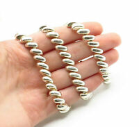925 Sterling Silver - Vintage Shiny Polished Macaroni Link Chain Necklace- N2926