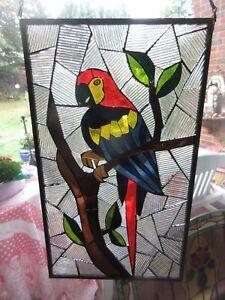 Antikes Fensterbild,Glasmalerei,Papapgei Glasbild,Bleiverglasung