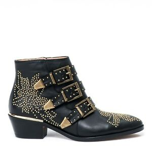 SUSANNA BOOTS in BLACK LEATHER & GOLD STUDS
