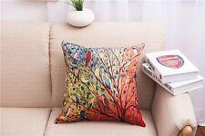 Pillowslip Linen Color tree brids Home sofa Throw Pillow Case Cushion Cover