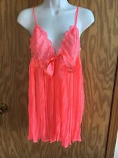 Victoria's Secret Pleated Lace Babydoll Melon Satin Ribbon Silk Panty Med M NWOT
