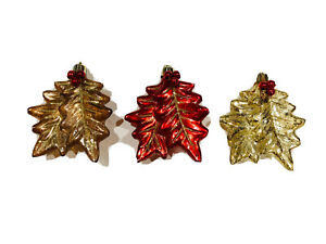 Lot 3 Red Gold Brown Christmas Autumn Leaves Ornaments