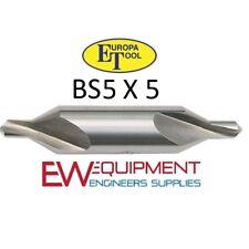 5 X BS5 CENTRE DRILLS BS HSS CENTRE DRILL EUROPA TOOLS