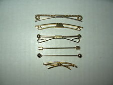"""6 Assorted Vintage Estate Goldtone Men's Shirt Collar Bar Clips 1 3/4"""" - 2 1/2"""""""