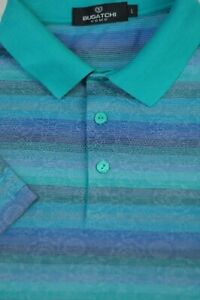 Bugatchi Uomo Men's Teal Purple Blue Stripe Cotton Polo Golf Shirt L Large