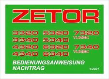 Bedienung Zetor 3320 3340 4320 4340 5320 5340 6320 6340 7320 Turbo 7340 Turbo
