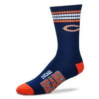 Chicago Bears For Bare Feet NFL 4-Stripe Deuce Crew Socks SZ M