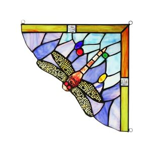 """10""""  Vibrant Dragonfly Tiffany Style Stained Glass Corner Window Panel"""