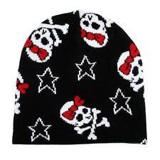 Black Beanie Skull & Crossbones with Red Bow Stars Knit Hat Snowboard Headgear