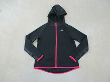 Under Armour Jacket Youth Large Black Pink Outdoors Full Zip Hooded Coat Girls *