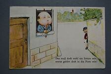 R&L Postcard: German Comic Smoking Man with Bloated Face