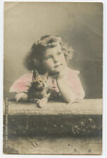 c1903 Child Children Cute Little Girl w/ Cat early undivided back photo postcard