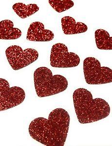 50 x Glitter Red Hearts Table Confetti / Scatter, Anniversary, Love hearts