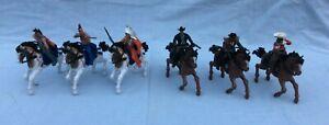 "3 Mounted Cowboys 4"", 3 Mounted Indians 4"", plus 6 horses"