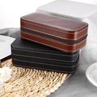 2 Grids PU Leather Travel Watch Storage Case Zipper Wristwatch Box Organizer  P2