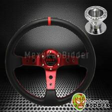 350mm Red Deep Dish Steering Wheel Aluminum Hub Kit For Acura Integra 94-01