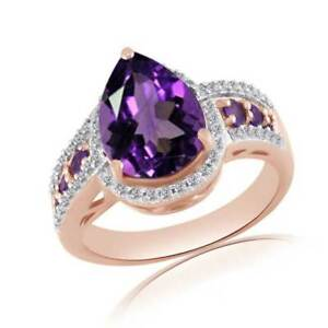 3.53 Ct Amethyst & White Zircon 18K Rose Gold Over Silver Engagement Ring