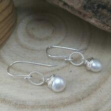 Handmade Sterling Silver Real Pearl Wire Wrapped Earrings Wedding Jewellery
