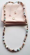Lola Rose Kenley Grey Agate & Moonstone Semi Precious 60cm Necklace new pouch