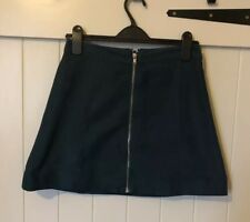 Size 10 H&M Green Suede Feel Zip Front Skirt