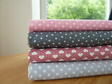 Grey & Pink Fabric Bundle 4 Fat Quarters 100% Cotton Craft Quilting Patchwork