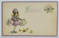 Easter Greeting Cute Little Girl w/ Hat Boxes and Chicks to Dove DE Postcard N15