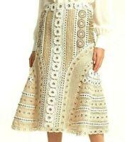 $1,294 Jonathan Simkhai Eyelet Embroidered Lace Macrame Dress Skirt IT 40 / US 4